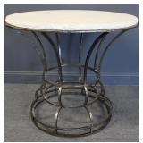 Vintage Polished Steel Center Table With Stone Top
