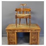 Antique Continental Leathertop Walnut Desk and