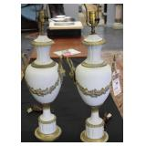 Pr Of Antique Parian Porcelain Gilt Metal Mounted