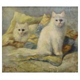 MANOURIEZ, L. Oil on Canvas. Two Cats.