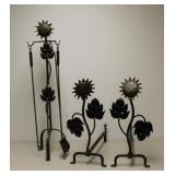 Iron Sunflower Form Andirons and Tools .