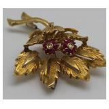JEWELRY. Italian 18kt Gold, Ruby, & Diamond Brooch