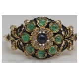 JEWELRY. Continental 19ct Gold, Emerald, Diamond,