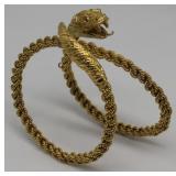 JEWELRY. Italian 18kt Gold Snake Form Bracelet.