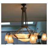 DEGUE. Signed Larg French Art Deco Chandelier .