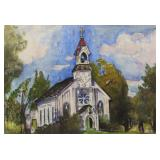 """LEVER, Haley. Watercolor on Paper. """"A Church"""