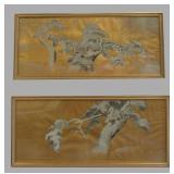 Pair of Japanese Paintings, Pines in Snow.