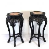 Pair of Marble Top Chinese Carved Tables