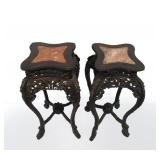 Pair of Square Chinese Marble Top Tables.