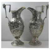 SILVER. Pair of S.Kirk & Son Coin Silver Ewers.