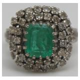 JEWELRY. 18kt Gold, Emerald, and Diamond Ring.