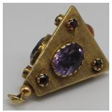 JEWELRY. 18kt Gold and Colored Gem Pendant.
