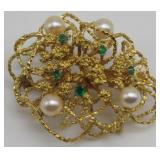 JEWELRY. 18kt Gold, Emerald, and Pearl Brooch.