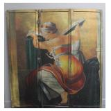 Antique 3 Panel WPA Style Painted Screen.