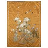 Large Japanese Silk Embroidery with Irises.