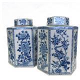 Pair of Blue and White Hexagonal Ginger Jars.