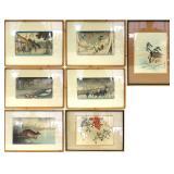Seven Japanese Woodblock Prints.