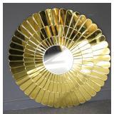 Vintage Amber To Clear Sunburst Style Mirror .