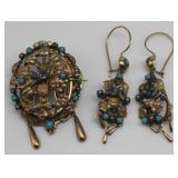 JEWELRY. Victorian 14kt Gold, Turquoise, and Pearl