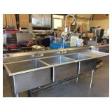 LARGE 3 COMPARTMENT SINK WITH PRE RINSE SPRAYER