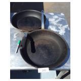 (2) LARGE FRYING PANS