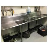 """3 COMPARTMENT SINK. 93"""" L x 25"""" D. Sink bowls are"""