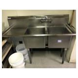 """2 COMPARTMENT SINK. 57"""" L x 23"""" D. Sink bowls are"""