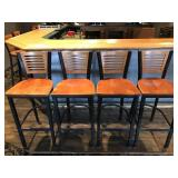 (4) METAL BAR STOOLS WITH WOOD BACK AND SEAT