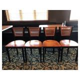(4) METAL DINING CHAIRS WITH WOOD BACK & SEAT