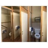 3 BATHROOM STALL SET UP, NOT INCLUDING TOILET,