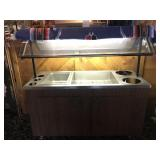 """72"""" HOT & COLD TABLE. 1 PAN STEAM TABLE ON THE"""