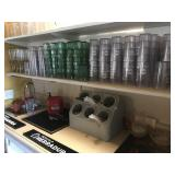 LOT OF CUPS AND CARAFES. Contents of shelf