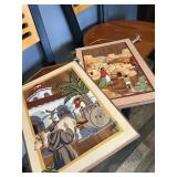 HAND CARVED HAND PAINTED ANTIQUE PICTURES x2