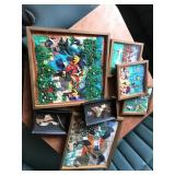 HAND CRAFTED FRAMED STITCHED WALL DECOR LOT OF 7