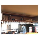 OVER-BAR LIQUOR CABINET AND GLASS RACK. SOLID