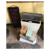 LOT OF CASH DRAWERS/ BOXES & OPEN SIGN