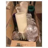 BOX FULL OF GLASSWARE AND MISC.