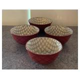 (16) Red Pattern Soup Cups