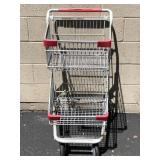 Small 2 Basket Metal Grocery Cart
