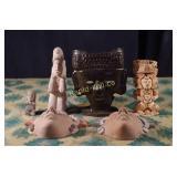 Vintage Aztec Pottery - Six Pieces