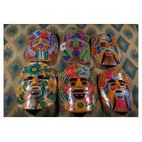 Vintage Mexican Decorative Masks - Six Pieces