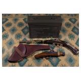 Vintage Gun Holster, Ammo Case & Two Antique