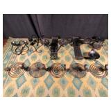 Vintage Metal Candle Holders - Eight in Total