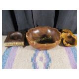 3 Vintage Wooden Bowls
