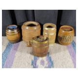 5 Vintage Miniature Wooden Barrels