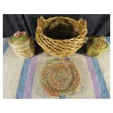 3 Baskets & 1 Woven Plate with Dyed Plant Fibre