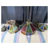 3 Vintage Stained Glass Chandeliers