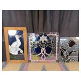 3 Vintage Stained Glass Wall Hangers