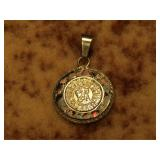 Vintage 925 Silver Pendant with Fire Opal Inlay