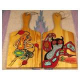 2 Paintings on Wooden Paddles